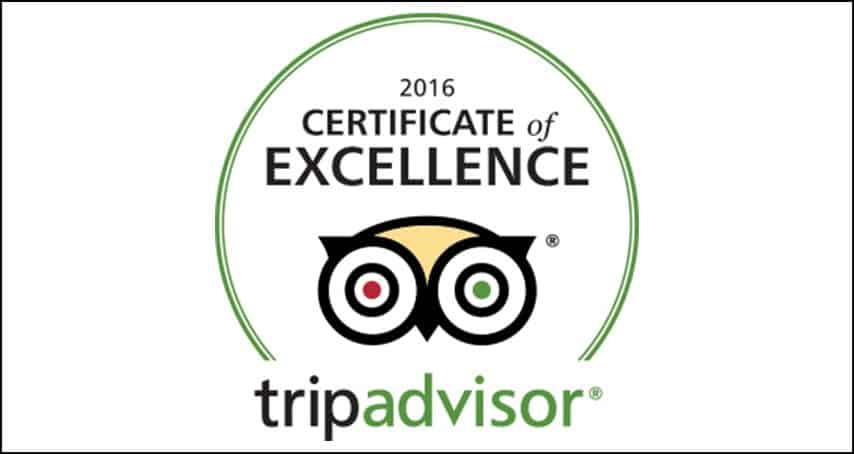 NO5 EARNS 2016 TRIPADVISOR CERTIFICATE OF EXCELLENCE